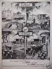 PUBLICITÉ 1924 UNIC SUR ROUTE A TABLE L'ÉTAPE EN CAMPING AU PALACE POUR VOYAGER