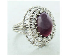 Cabochon Ruby and Diamond Ring 18K White Gold