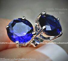 Estate 2ctw Diamond Cut Blue Sapphire Round Stud Sterling Silver Earrings