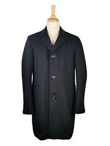 L644 BARBOUR EDWARD MENS LONG BLACK FORMAL WOOL BLEND SMART OVERCOAT, 42 XL