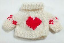 "UNIPAK Designs Hand Knit Sweater Heart turtleneck for Plush Bear 2345 4"" x 4"""