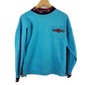 Crazy Man Vintage Mens Sweatshirt Large L Teal Long Sleeved Jumper Aztec Vtg 90s