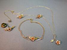 VTG Krementz Gold Filled Brooch Set Necklace Earrings Bracelet Rose Gold Flower