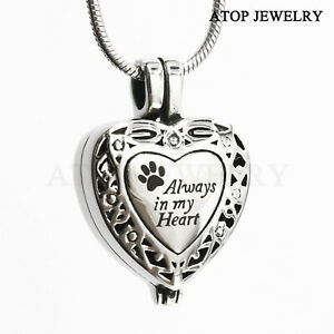 Always in my Heart Locket Urn Necklace Pet Keepsake Jewelry For Ashes, With Tool
