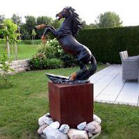Deko STEIGENDES PFERD schwarz Garten Tier Figur HENGST steigend RAPPE SKULPTUR