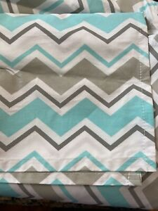 Trend Lab Teal Grey Chevron Crib Bed Skirt Baby Infant Bedding