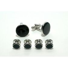 Silver and Black Budget Cufflink and Stud Set