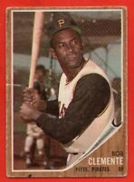 1962 Topps #10 Roberto Clemente VG+ CREASE MARKED Pittsburgh Pirates FREE SHIP