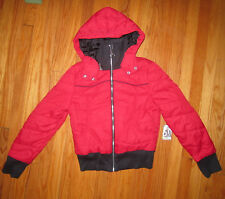 Junior Girls Women's RARE Roxy Winter Coat RED Black Bomber Jacket. $80 retail
