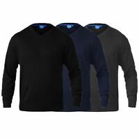 Mens V Neck Knitted Jumper D555 Duke Big King Sizes Sweater Pullover Top Winter