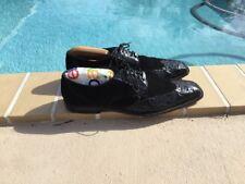 Belvedere Crocodile Black Suede & Crocodile Detail Laced Loafers Shoes Sz 11
