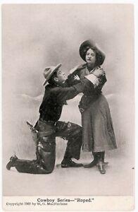 """Roped"" Chasing the Girl 1907 W. G. MacFarlane Cowboy Series Postcard"