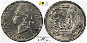 DOMINICAN REPUBLIC SILVER 10 CENTAVOS UNC COIN 1951 YEAR KM#19 PCGS GRADING MS63