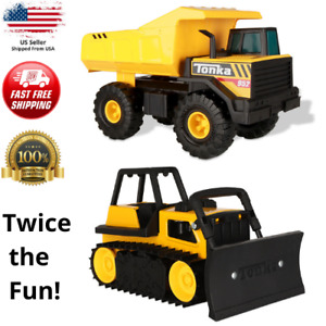 Tonka Steel Construction Dump Truck and Bulldozer Toy Classic Mighty Combo Pack