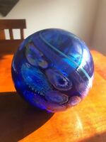 Signed James Nowak Blue/Multi-Colored Glass Sculpture