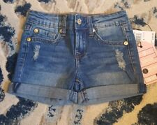 7 for all mankind Kids Little Girl Distressed Rolled Cuff Denim Shorts Size 5