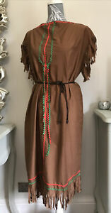 Ladies Native American Red Indian Fancy Dress Wild West Pocahontas Adult Costume