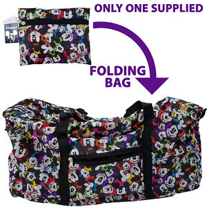Disneyland Paris Foldable Travel Duffle Bag Mickey Mouse Disney Fabric Reusable