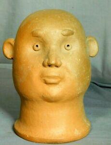Vintage Modern Brazil Folk Art Pottery Ceramic Sculpture Bust Jose Verissimo 80s