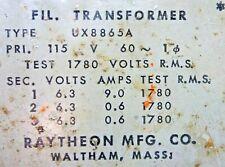 Vintage Raytheon Filament Transformer 3 X 6.3 Volts @ 9 A + 2 X 0.6 Amp