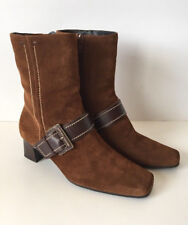 ECCO Brown Suede Buckle Strap Side Zip Ankle Boots Size 36 EU