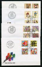 SCHWEIZ Nr.1372-1375 u.a. PRO PATRIA 1989-1991 SCHMUCK-FDC !!! (133526)