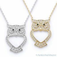 Owl Animal Charm CZ Crystal Luck Pendant & Chain Necklace in 925 Sterling Silver