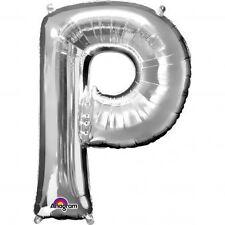 """Lettera P Argento Foil Balloon 16"""" 40cm Aria Riempire Nome Età Compleanno Anniversario"""