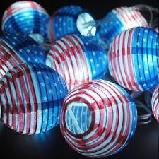 July 4th summer globe lantern Memorial Veterans Picnic Military String Lights