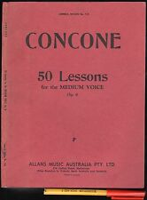 Vintage CONCONE 50 LESSONS Medium Voice NON-LYRIC TRAINING 96pg Sheet Music Book