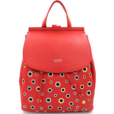 Anna Virgili fashion metal rings red leather backpack rock style Made in Italy