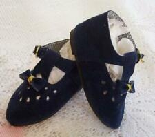 """Doll Shoes 3"""" Velveteen T-Strap Blue With Buckles And Bows U.S. Seller"""