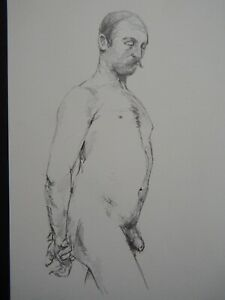 Original pencil male nude life drawing in an academic 19th century style