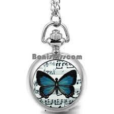 Music Note Butterfly Quartz Arabic Numerals Pocket Watch Pendant Necklace