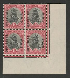 South West Africa 1929 1d Official block with date cuts SG O10 Mint.