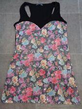 Ladies Floral Sequine Tunic Dress Size UK 12