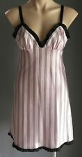 Pre-owned SHORT STORIES Pink,White & Black Stripe Satin Look Chemise Size 8
