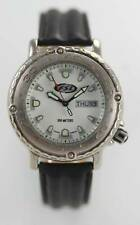 Fossil Watch Mens FSL Black Leather Day Date Stainless Steel Silver 100m Quartz