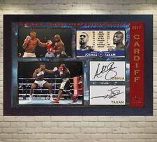 Anthony Joshua v Carlos Takam signed Cardiff 28th October WBA IBF WBO Framed