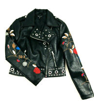 Romeo & Juliet Couture Womens Size Medium Faux Leather Moto Jacket Embroidered