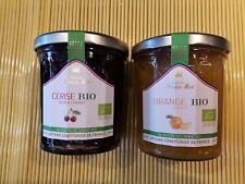Lot  2 confitures BIO au sucre de canne bio 2 x 340 g (  1 cerises 1 oranges )