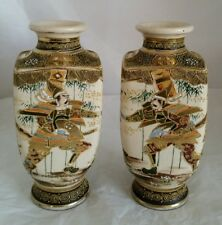C19th Japanese Satsuma vases. Hand painted decoration. Meiji Period 1868 -1912