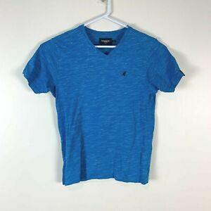 Kangol Blue Small Logo V-Neck T Shirt Size Men's Medium M (Flawed)