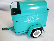 Vintage 1960's Structo Farms turquoise blue green horse livestock trailer