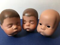 80's Vintage Boots Tyner Sugar Lump Baby Repro Bisque Doll Heads 3 Pc