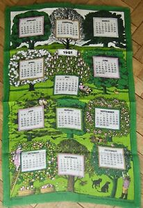 1981 CALENDAR Tea Towel PAT ALBECK Vintage NATIONAL TRUST Trees Collectible Rare