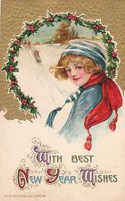 G0646 New Year Greetings Female/Sledding Winsch Postcard