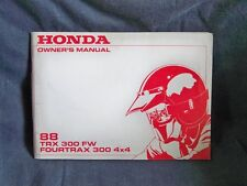Honda TRX 300 FW Original Owners Manual 88 Fourtrax 300 4X4 Genuine + More