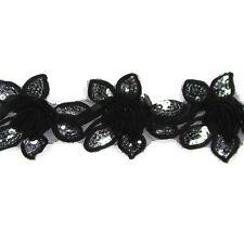 Sequin Flower Chiffon Lace Trim - Women baby Girls Hair Accessories, Hats, Craft
