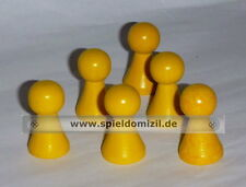 6 PÖPPEL * schön geformte HOLZ Halma SPIELFIGUREN in GELB * 26 x 15 mm * NEU
